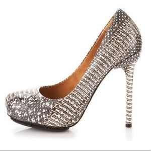 LAMB snake print heels